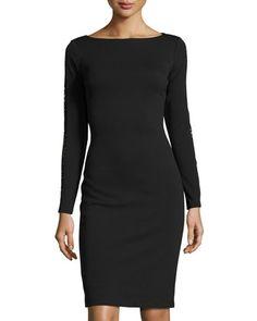 Lace-Back+Long-Sleeve+Sheath+Dress,+Black+by+Catherine+Catherine+Malandrino+at+Neiman+Marcus+Last+Call.