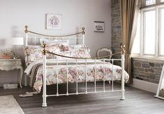 Ivory Metal Frame With Brass Finials - King Size Bed Frame - Ethan Bedroom Themes, Bedroom Decor, Bedroom Ideas, King Size Bed Frame, Metal Beds, Cool Beds, New Room, Bedding Collections, Dream Bedroom