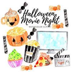 Movie Clipart Movie Night Clip Art Popcorn Clipart Cinema | Etsy Movie Clipart, Get Netflix, Halloween Movie Night, Movie Reels, Halloween Clipart, Movie Tickets, Movie Theater, Popcorn, Mickey Mouse