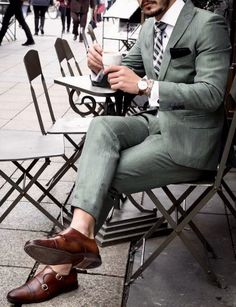 a22b0d681fa Men s green custom business suit with brown dress shoes