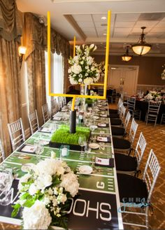 Mitzvah & Bat Mitzvah Football Theme Ideas Jersey Street Furniture scored wit this table decor for a football themed Bar Mitzvah.Jersey Street Furniture scored wit this table decor for a football themed Bar Mitzvah. Football Wedding, Football Banquet, Football Themes, Football Birthday, Football Parties, Football Fever, Tailgate Parties, Birthday Games, Tailgating