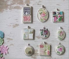 Mosaic jewelry - CHOOSE ONE  - mosaic pendant - mosaic - shabby chic pendant - gift idea - andy warhol tiles - vintage mosaic tile