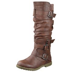 Womens Knee High Boots Strappy Buckles Faux Leather Casual Comfort Shoes Brown SZ 5