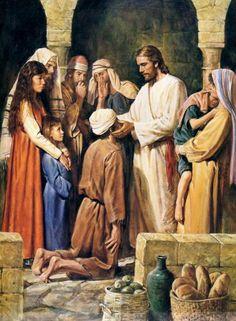 Tell Me the Stories of Jesus. Jesus heals a blind man on the Sabbath Images Du Christ, Images Bible, Pictures Of Christ, Bible Pictures, Lds Art, Bible Art, Wunder Von Jesus, Arte Lds, Image Jesus