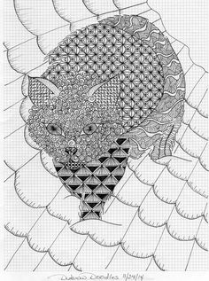 This is a Disbrow Doodles Original, friend requested a tangled doodle in the shape of a cat.  #zen-inspired, #catshaped, #meditative