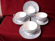 Minton, China Dinnerware Gray Mist Pattern #S645 set 4 Cup and saucer #Minton