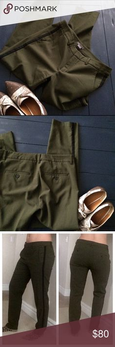 "Vince. Wool pants Classic army green color with flattering black stripe on the side just to give character ✨ perfect for work. EUC, hardly worn. would be adorable bundled with chambray shirts also listed! Best for size 8-10, I'm a 6-8 in the photo. 29"" inseam Vince Pants Trousers"