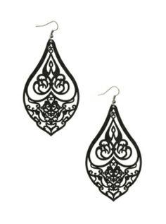 Matte Black Chandelier Earrings