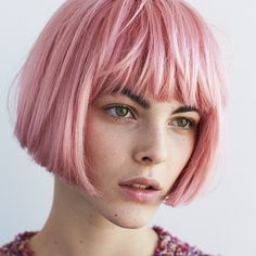 30 Picture-Perfect Styles For Pastel Pink Hair 31 Medium Straight Haircut, Straight Haircuts, Hairstyles With Bangs, Short Bob Hairstyles, Fall Hairstyles, Blonde Hairstyles, Style Hairstyle, Pastel Pink Hair, Semi Permanent Hair Color