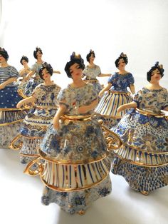 My series of dancers. Hand made in ceramics. Blue and white and gold. Glass Ceramic, Ceramic Art, Chinese Contemporary Art, Blue And White China, Tea Art, Kintsugi, Mosaic Art, Mosaics, Pottery Studio