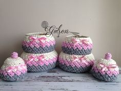 How to make a Basket with a Penile Rope - Hobby Time Diy Crochet Basket, Crochet Bowl, Crochet Basket Pattern, Crochet Flower Patterns, Crochet Baby Hats, Easy Crochet, Crochet Flowers, Cotton Cord, Crochet Storage