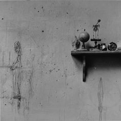 Ernst Scheidegger : Giacometti's sketch for the sculpture 'Le Chariot' on his living area wall c. 1950