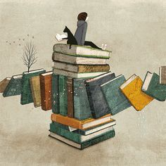 untitled, by Yoki Tanji #illustration #books #reading #read