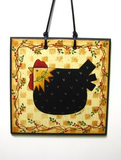 Folk Art Chicken Sign, Handpainted Hen, Home Decor, Wall Art. $8.95, via Etsy.