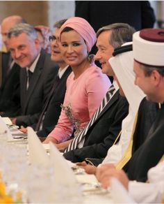 """""""Think pink, but never wear it."""" -Karl Lagerfeld Ironically,Sheikha Mozah in Pink Chanel Couture."""