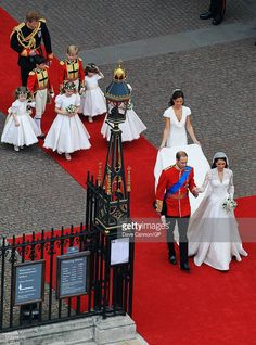 Their Royal Highnesses Prince William, Duke of Cambridge and Catherine, Duchess of Cambridge are followed by Maid of Honour Pippa Middleton, their page boys and bridesmaids and their best man Prince Harry as they prepare to begin their journey by carriage procession to Buckingham Palace following their marriage at Westminster Abbey on April 29, 2011 in London, England. The marriage of the second in line to the British throne was led by the Archbishop of Canterbury and was attended by 1900…