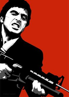 """Graphic Art Poster Scarface Tony Montana Say Hello To My Little Friend. Antonio """"Tony"""" Montana is a fictional character and the main protagonist of the 1983 film Scarface. Scarface Poster, Scarface Movie, Dope Cartoons, Dope Cartoon Art, Arte Pink Floyd, Hip Hop Art, Hello To Myself, Silhouette Art, Stencil Art"""