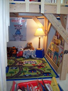 Basement idea too: LOVE this classroom library treehouse! Underneath the treehouse is a cute reading nook! New Classroom, Classroom Setting, Classroom Setup, Classroom Design, Kindergarten Classroom, Classroom Organization, Reading Loft, Reading Books, Preschool Reading Area
