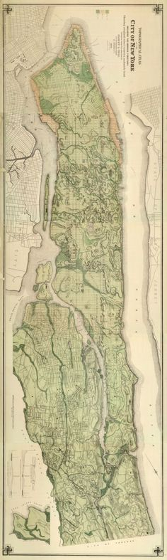 Topographic map of New York City 1874