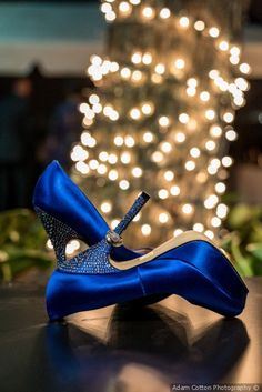 Glam blue + shimmery bridal shoes + gem embellishments - wedding shoe inspiration {Adam Cotton Photography}