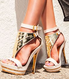 Fabulous White + Gold Heels <3