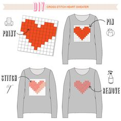 Über Chic for Cheap: DIY: Cross Stitch Heart Sweater