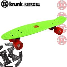 Save 50% - Now Only £24.95 ... Get your skates on ... ONLY ONE DAY OFFER  Madd Krunk retro skateboard in green and red.