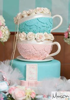 Lovely idea. Cut round cake in half and create tea cups! ;)