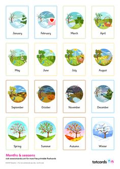 Color Flashcards, Flashcards For Kids, Free Printable Flash Cards, Printable Calendar Template, Flashcard App, Like Facebook, Kids Calendar, Months In A Year, Seasons Of The Year