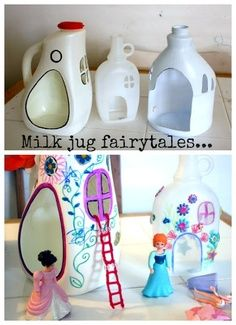 So cute! I like the idea of Milk jug fairy tales though it could be gnome homes too