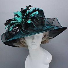 Church Kentucky Derby Dress Two Tone Feather Teal Hat Wide Brim Wedding Teaparty | eBay