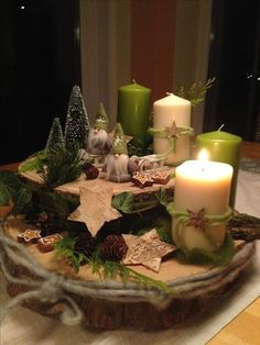 "My ""Advent wreath"" # advent wreath # wood # Wichtel # birch star # Christmas tree - Decoration is My Job Centerpiece Christmas, Christmas Candles, Noel Christmas, Rustic Christmas, Xmas Decorations, Winter Christmas, Christmas Wreaths, Christmas Ornaments, Nordic Christmas"