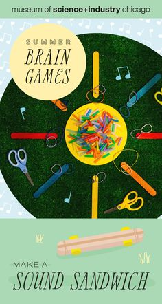 Feel the vibration created when a rubber band moves between craft sticks! Check out MSI's Summer Brain Games for instructions on this and eight more FREE science activities. Science Experiments Kids, Science For Kids, Science Activities, Craft Sticks, Craft Stick Crafts, Games For Toddlers, Brain Games, Troy, Step By Step Instructions