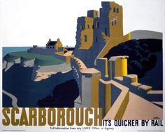 Scarborough Castle, Yorkshire. LNER Vintage Travel Poster by Frank Newbould.