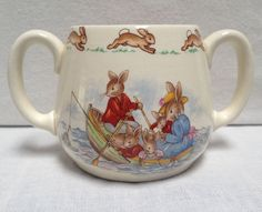 Vintage Royal Doulton BUNNYKINS Two-Handled Child's Cup Mug ~ Bunnies in a boat