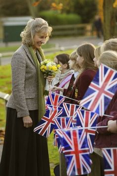 The Duchess of Gloucester by The British Monarchy, via Flickr-The Duchess of Gloucester meets schoolchildren during an official visit in 2007. © Press Association