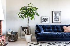 Interior design by Leeloo Mingissiyeva  19birds.com  Blue sofa