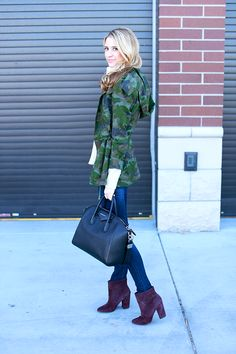 Chic way to incorporate camo into your outfit