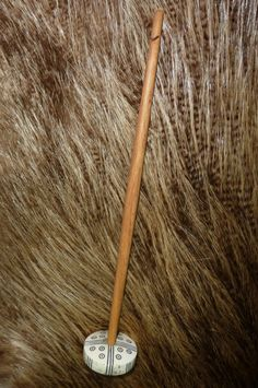 Hand Carved Reindeer Antler Viking Spindle by feedtheravens