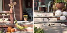 halloween dekorationen ideen veranda besen kürbisse