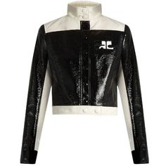 Courrèges Contrast-panel patent faux-leather jacket (4.875 RON) ❤ liked on Polyvore featuring outerwear, jackets, black cream, leather look jackets, patent leather jacket, asymmetrical jacket, fake leather jacket and stand up collar jacket