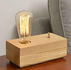 Industrial-Vintage-Retro-LOFT-Natrual-Wooden-Table-Desk-Lamp-Edison-Light-Bulb