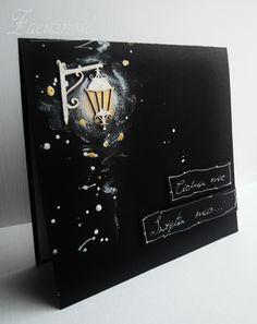 Ręcznie robiona kartka świąteczna z latarenką/ Handmade Christmas card #light
