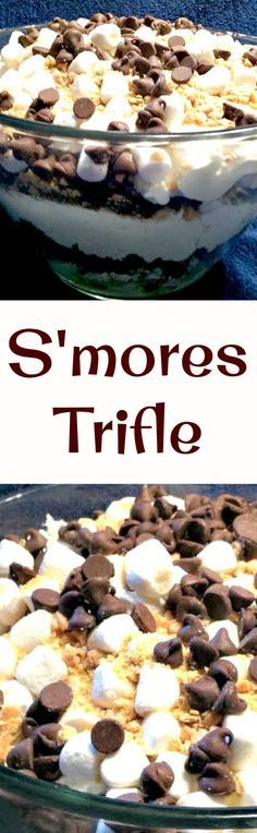 S'mores Trifle - Smore's lovers dream! Delicious chocolate cake, marshmallows and other goodies make this a wonderful dessert!