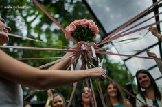 """bouquet with satin ribbons. fun way to """"toss"""" the bouquet."""
