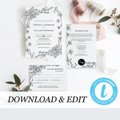 Wedding Invitation Template Boho Wedding Invitation Templett Printable Editable Wedding Invitation Black white Floral Rustic DIY by PearlyPaperDesign on Etsy https://www.etsy.com/se-en/listing/597108876/wedding-invitation-template-boho-wedding