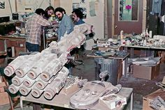 Putting the finishing touches on the Rebel blockade runner Tantive IV for Star Wars.