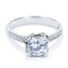 Tacori Platinum 2536 RD Cubic Zirconia Center Stone 1/6ctw Diamond Engagement Ring (G-H, VS1-VS2) (Size 7), Women's, White