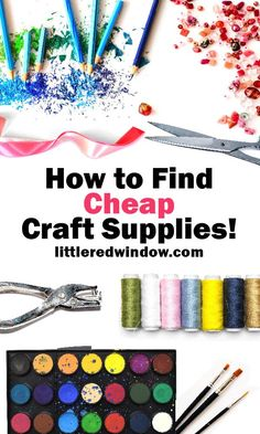 If you want to save on crafts, then you definitely need all of these tips, tricks and ideas to find cheap craft supplies for your next craft or DIY project! Bulk Craft Supplies, Discount Craft Supplies, Wholesale Craft Supplies, Scrapbook Supplies, Save On Crafts, Dollar Store Crafts, Diy Crafts To Sell, Crafts Cheap, Rock Crafts