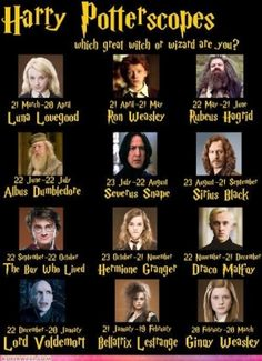 I'M HARRY! YAYAYAYAYAA but for those who obviously haven't read the books it clearly states in Harry Potter and the Prisoner of Azkaban that Hermione's birthday is in September (like mine :))